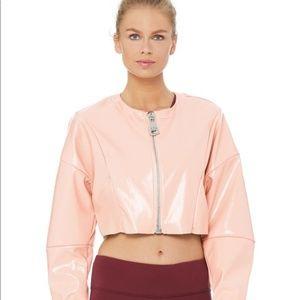 ALO Pink Liquid Crop Jacket SMALL